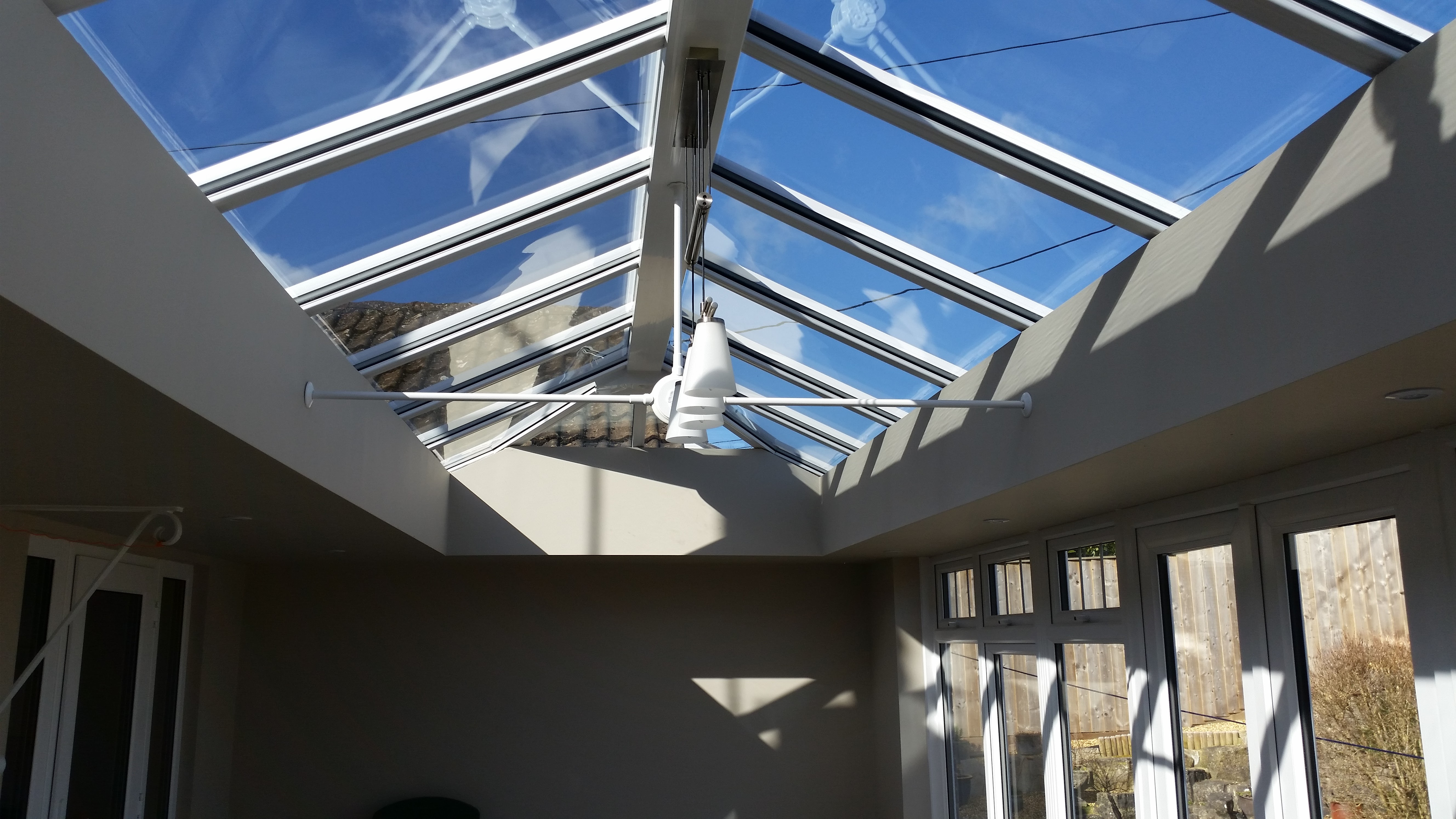Inside view of a new Livin room conservatory installation.