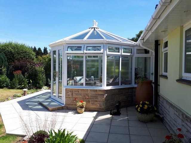 Side view of a new conservatory build.