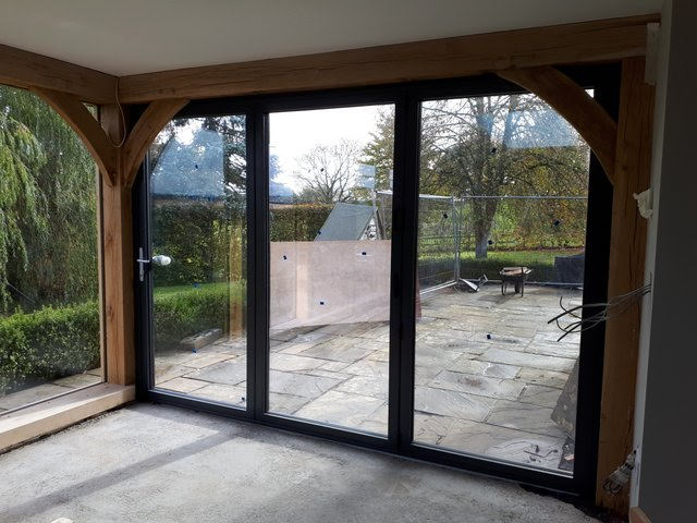 Image of new patio and french doors with Aluminium Bi-Fold.