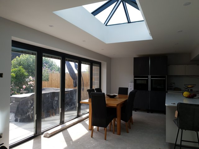 View of a skylight and new french windows.