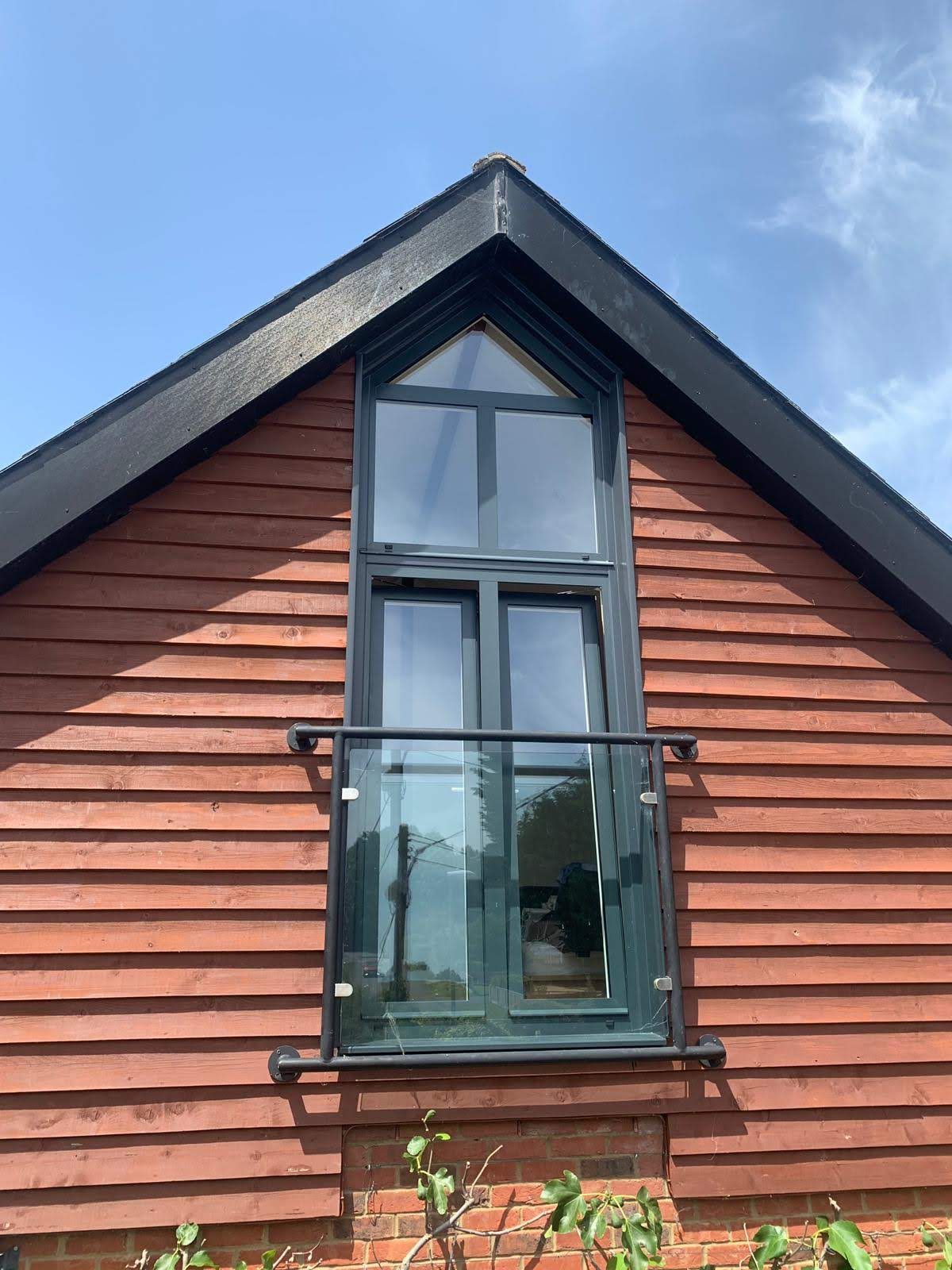 Front view of new shaped window.