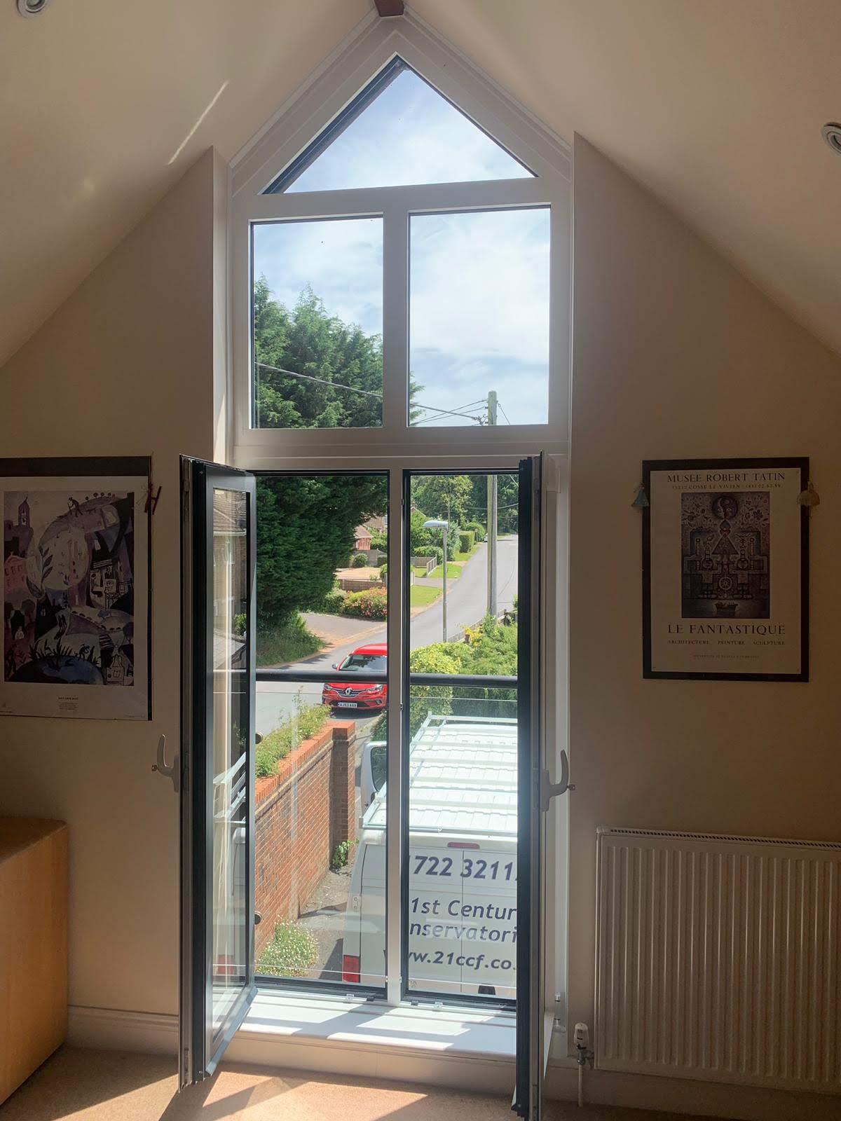 Inside shot of a shaped window installation.