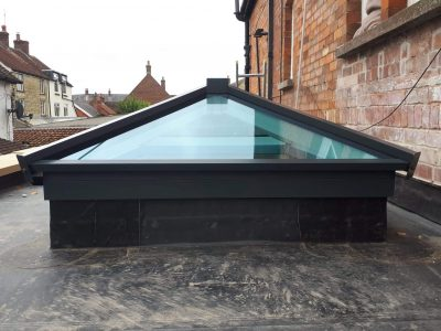 Front image of a roof skylight design.