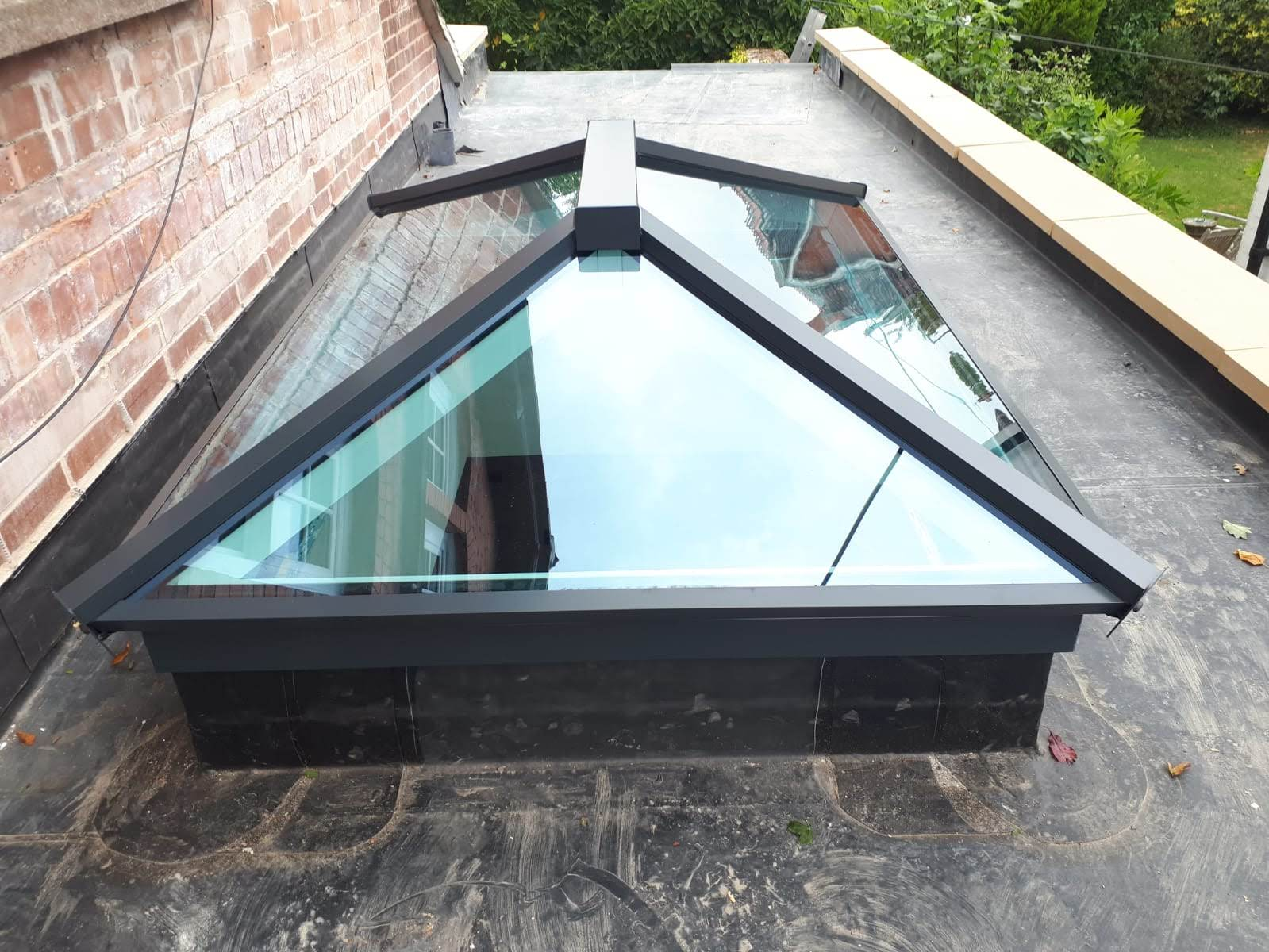 High angle image of a new roof skylight design.