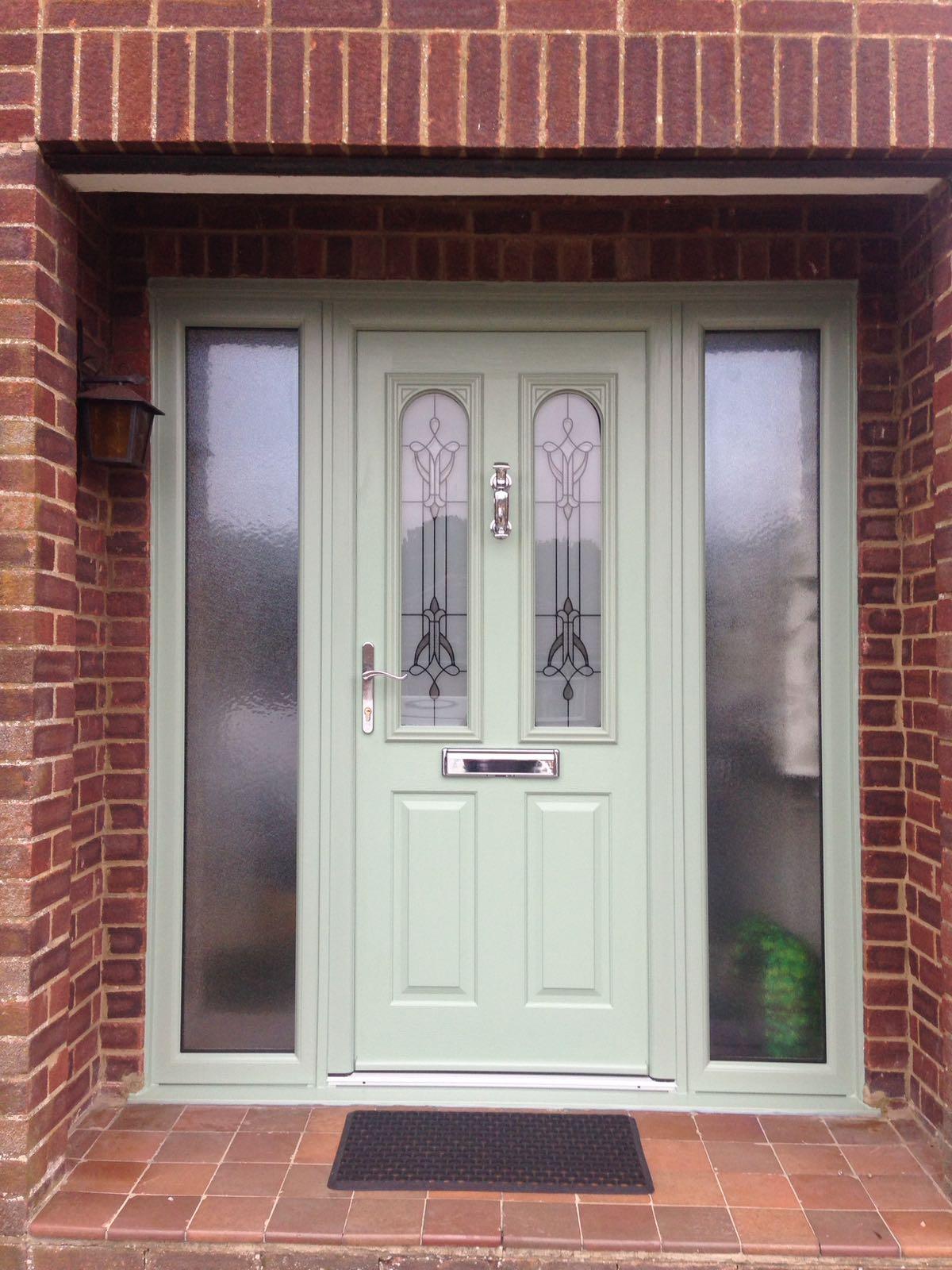 Pastel green design of new composite door.