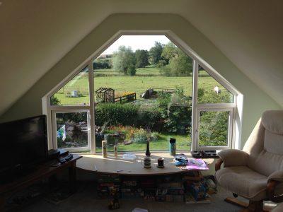Inside image of new PVC window installation.