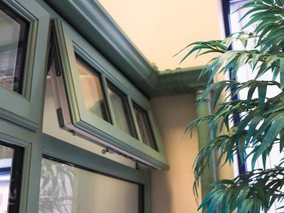 Green window frame example.