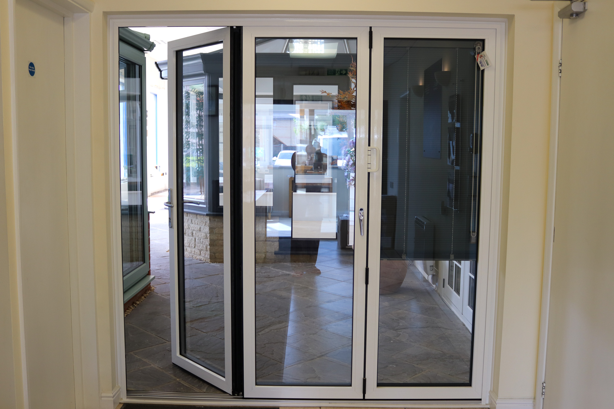 Photograph of new french door installation.