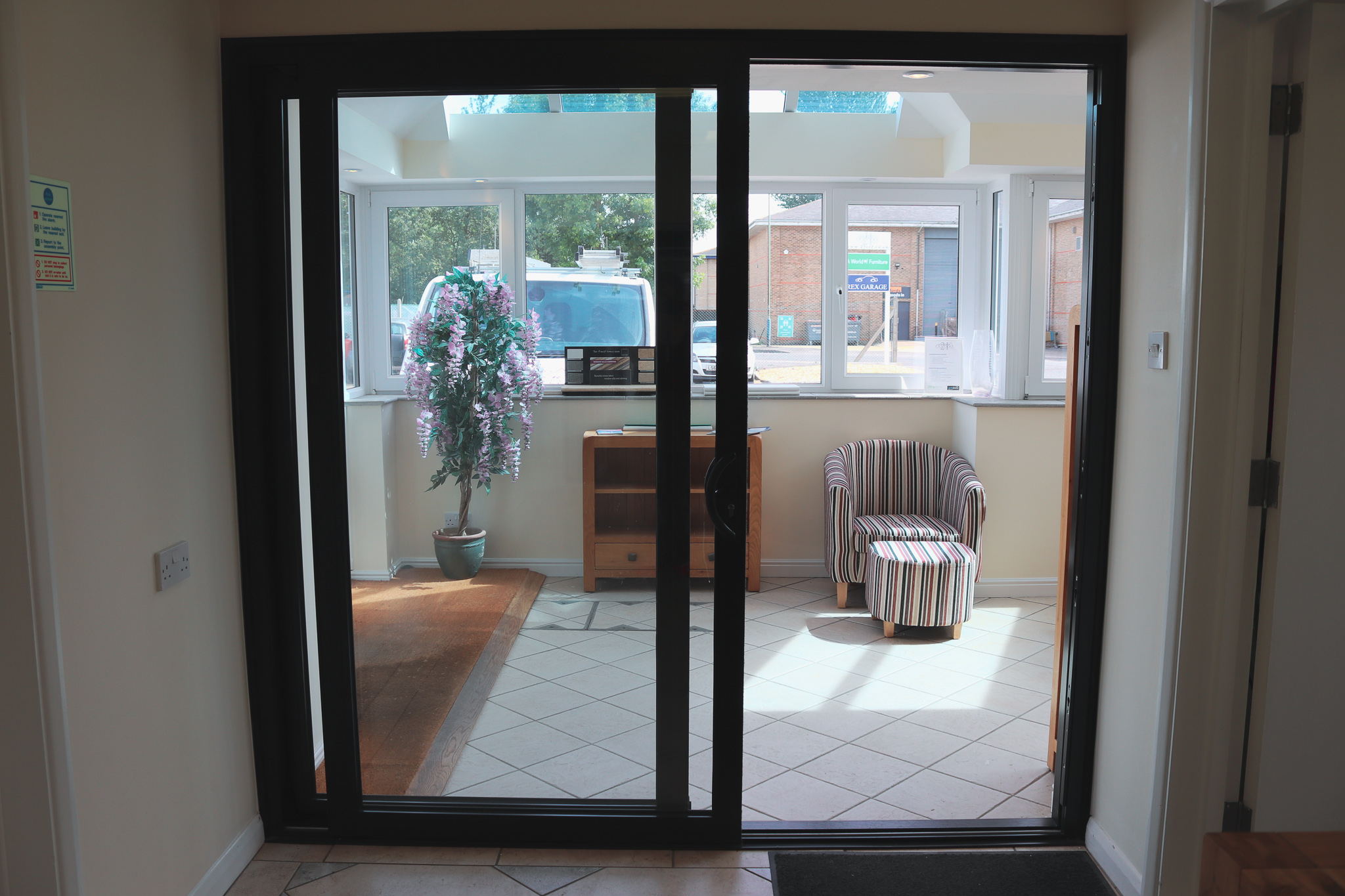 Image of Livin room with french doors.