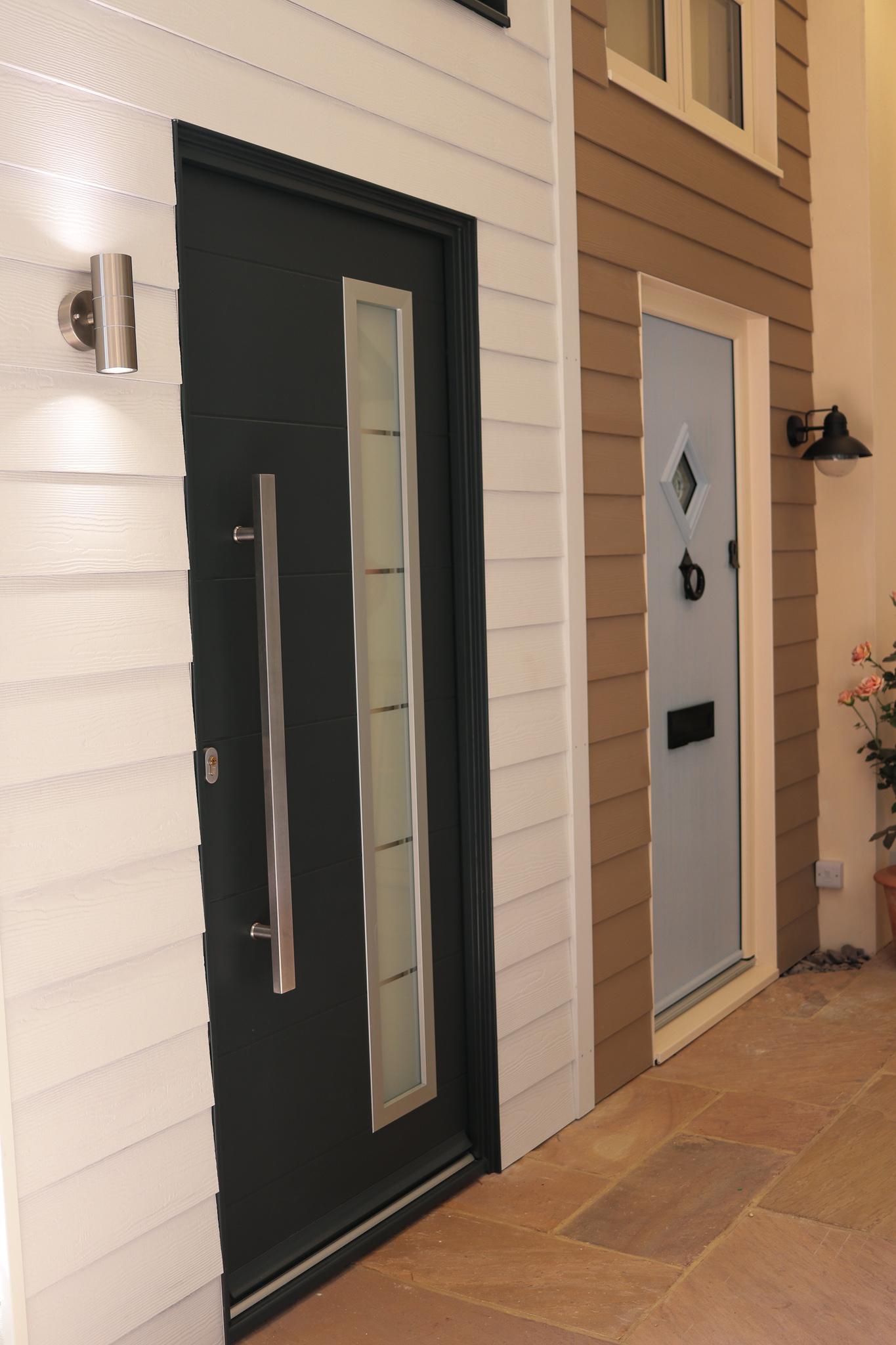 View of front door examples.