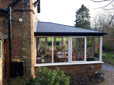 Side on view of a new conservatory.