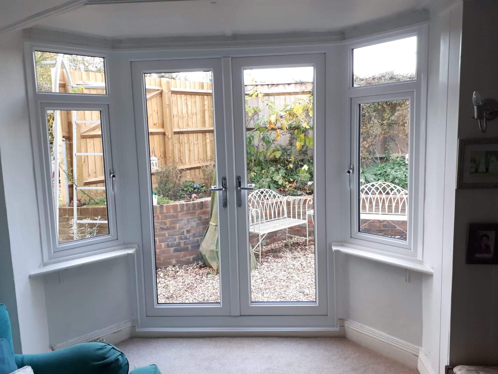 View from the inside of a room with a new PVC door installation.
