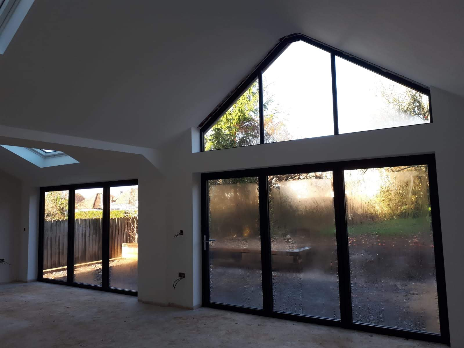 Inside shot of some lovely shaped windows created with aluminium.