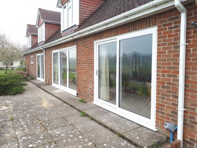 Side view of new patio design by 21st century conservatories and fascias.