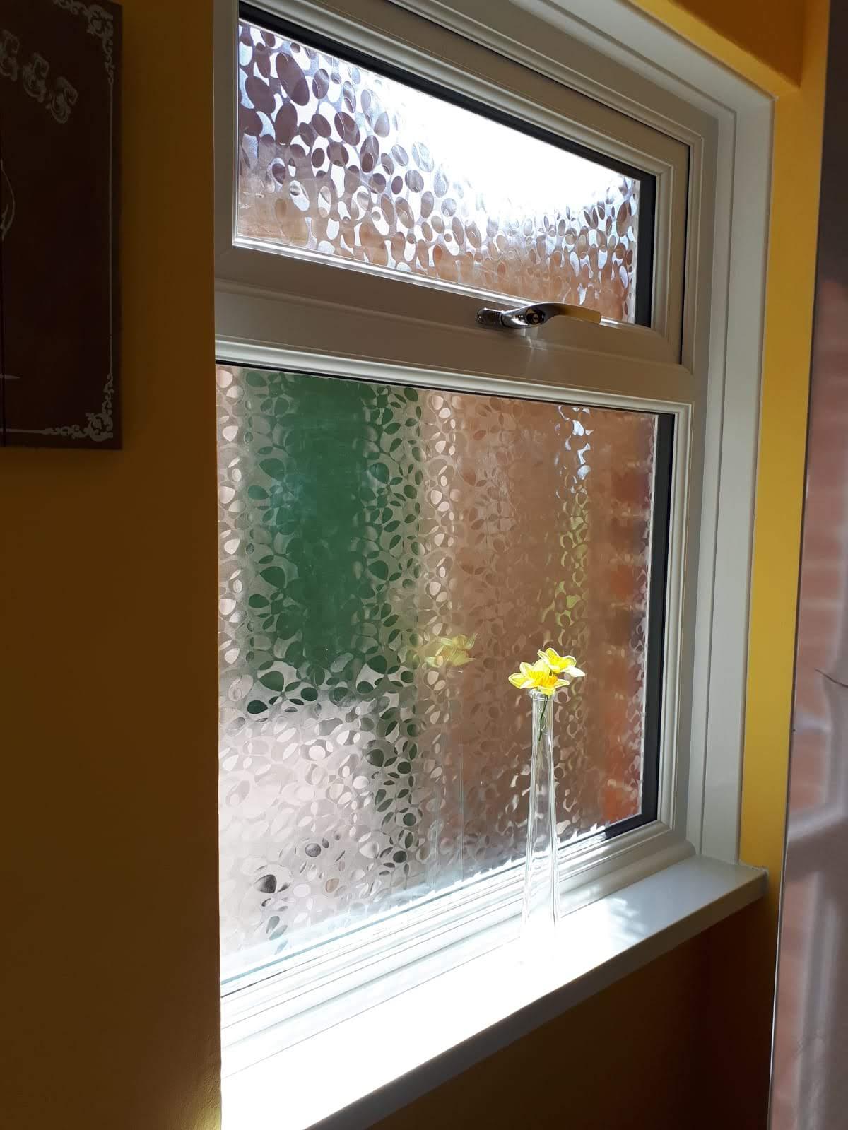 Image of new PVC window installation.