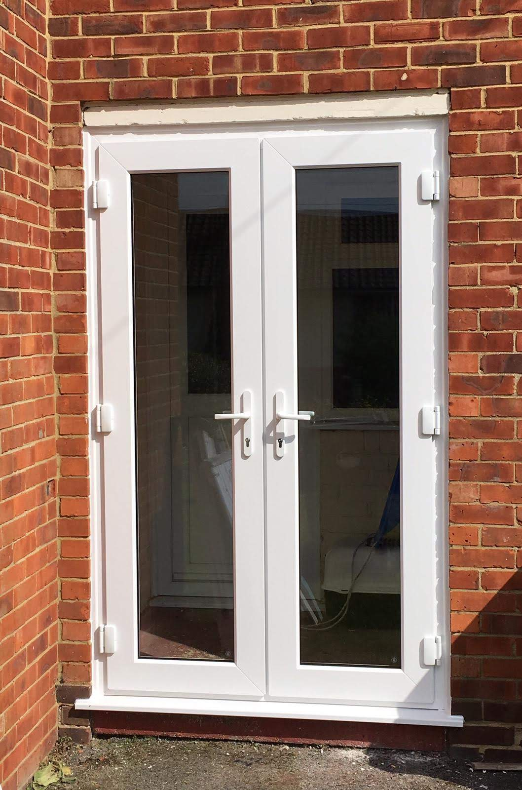 Front view of a new PVC front door model.