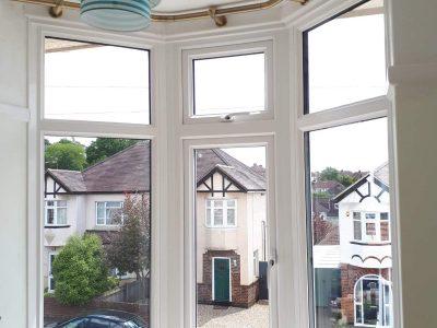 Bright new PVC window installation.
