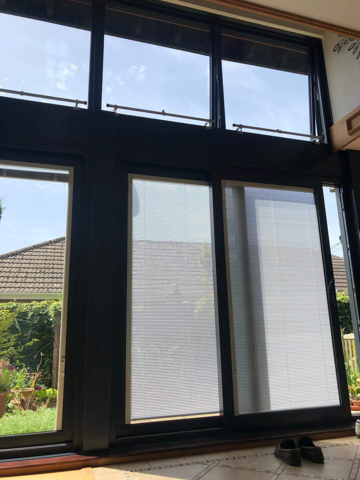 New french doors with built-in-blinds design.