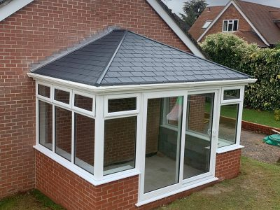 High angle image of a new conservatory design.